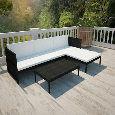 vidaXL Outdoor Lounge Set 9 Pieces Black Poly Rattan Garden