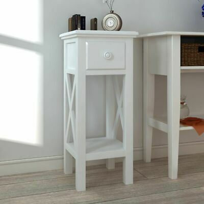 vidaXL Side Table with Drawer White Bedroom Furniture Plant