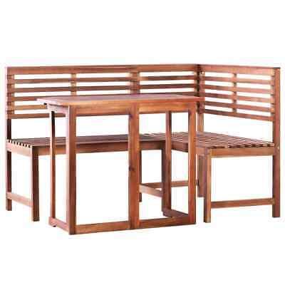 vidaXL Solid Acacia Wood Balcony Table and Corner Bench Set