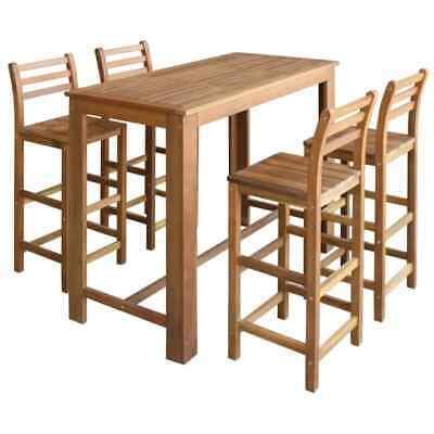 vidaXL Solid Acacia Wood Bar Table and Chair Set 5 Piece