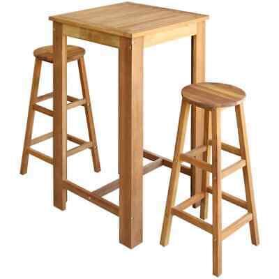 vidaXL Solid Acacia Wood Bar Table and Stool Set 3 Piece