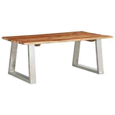 vidaXL Solid Acacia Wood Coffee Table Stainless Steel Wooden