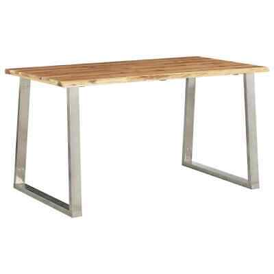 vidaXL Solid Acacia Wood Dining Table Stainless Steel Wooden