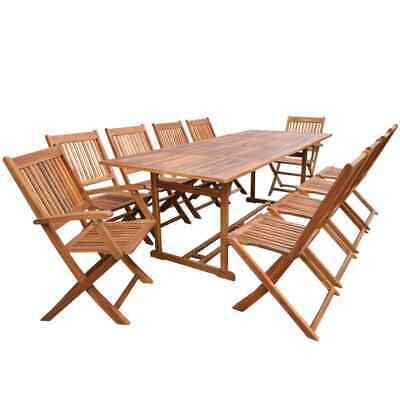 vidaXL Solid Acacia Wood Outdoor Dining Set 11 Piece Garden