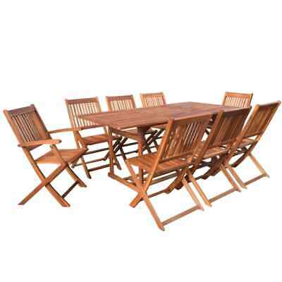 vidaXL Solid Acacia Wood Outdoor Dining Set 9 Piece Garden