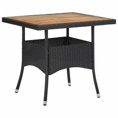 vidaXL Solid Acacia Wood Outdoor Dining Table Black Poly