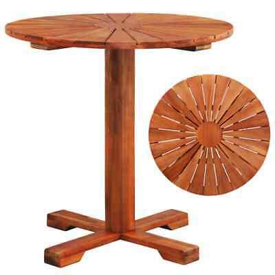 vidaXL Solid Acacia Wood Pedestal Table 70x70cm Round