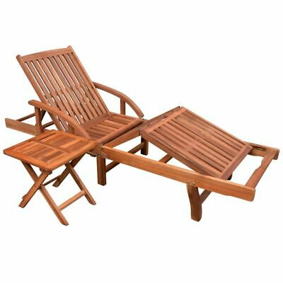 vidaXL Solid Acacia Wood Sun Lounger and Table Set 2 Piece