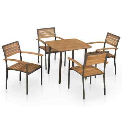 vidaXL Solid Acacia Wood and Steel Outdoor Dining Set 5