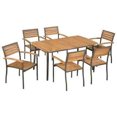 vidaXL Solid Acacia Wood and Steel Outdoor Dining Set 7