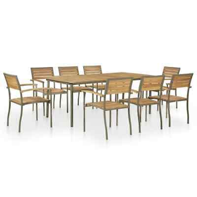 vidaXL Solid Acacia Wood and Steel Outdoor Dining Set 9