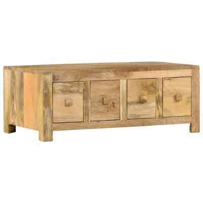 vidaXL Solid Mango Wood Coffee Table with 4 Drawers 90cm