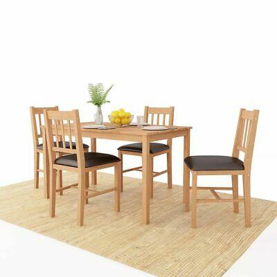 vidaXL Solid Oak Dining Room Set 5 Piece Kitchen Furniture