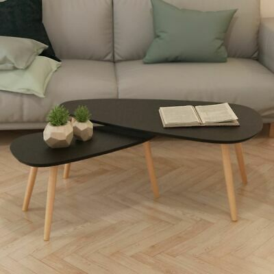 vidaXL Solid Pinewood Coffee Table Set 2 Piece Black Home