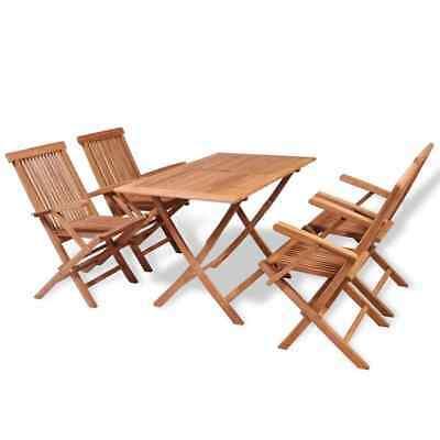 vidaXL Solid Teak 5 Piece Garden Dining Set Outdoor