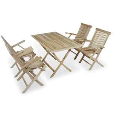 vidaXL Solid Teak 5 Piece Outdoor Dining Set Garden