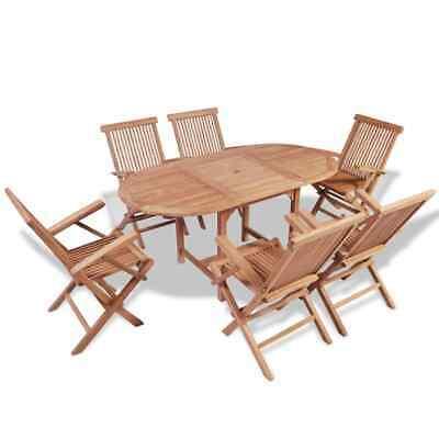 vidaXL Solid Teak B-ware 7 Piece Outdoor Dining Set Table