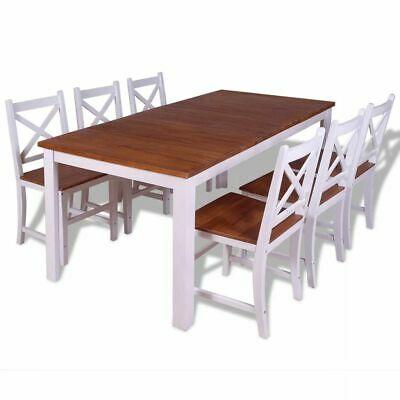 vidaXL Solid Teak Mahogany Dining Set 7 Piece Kitchen