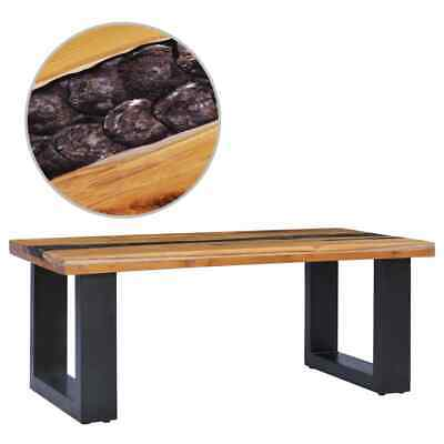 vidaXL Solid Teak Wood Coffee Table 100cm Polyresin Handmade