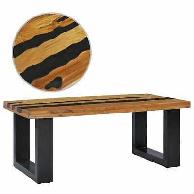 vidaXL Solid Teak Wood Coffee Table Lava Stone Multicolour