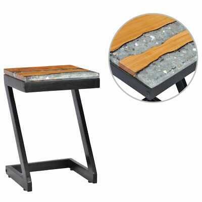 vidaXL Solid Teak Wood Coffee Table Z Leg Transparent