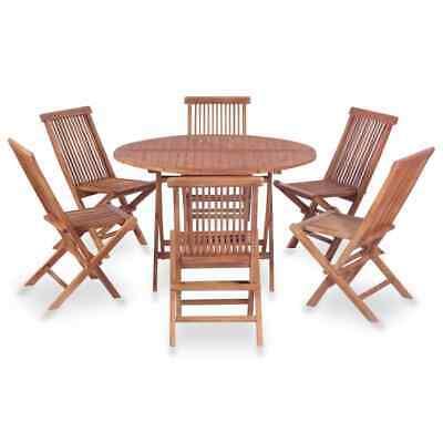 vidaXL Solid Teak Wood Folding Dining Set 7 Piece Patio
