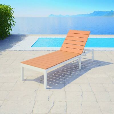 vidaXL Sunlounger Aluminium WPC White and Brown Outdoor