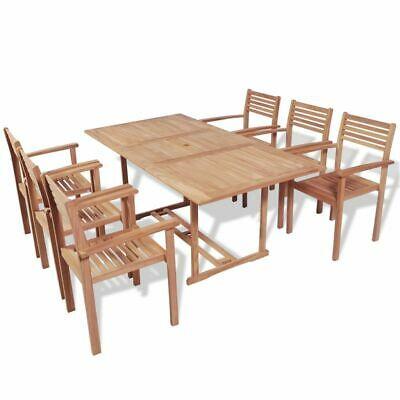 vidaXL Teak Outdoor Dining Set 7 Piece Garden Furniture