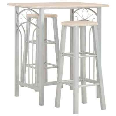 vidaXL Wooden Bar Set 3 Pieces Steel Kitchen Table and