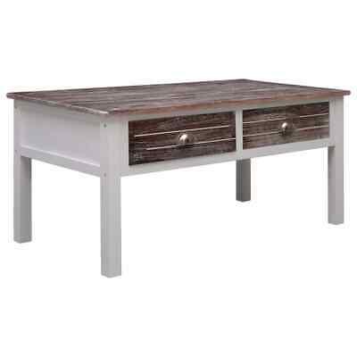vidaXL Wooden Coffee Table 2 Drawers with Metal Handles