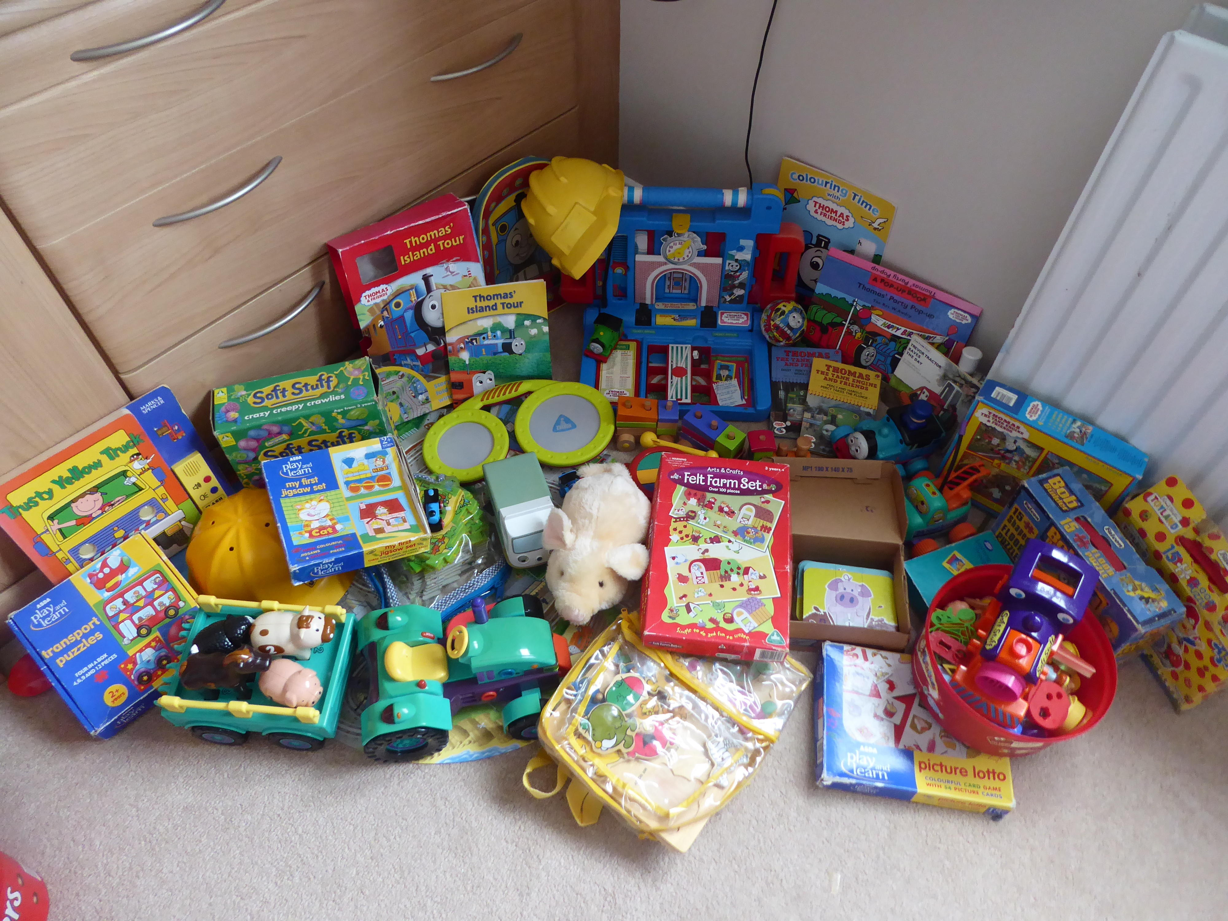 Large collection of toys lots of Thomas the Tank, vehicles,