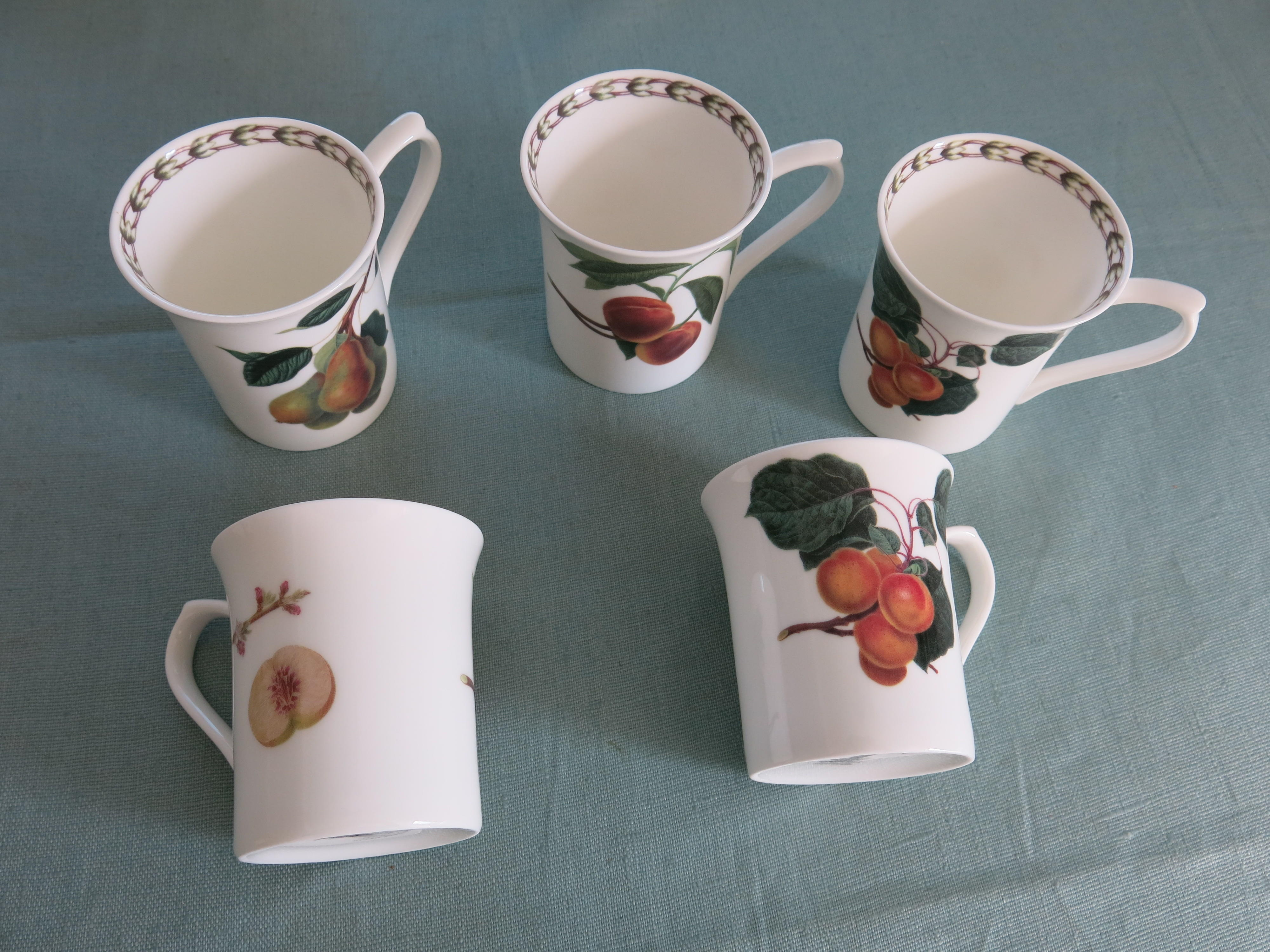 5 Fine Bone China Mugs 'Queen's'.. Hookers Fruit