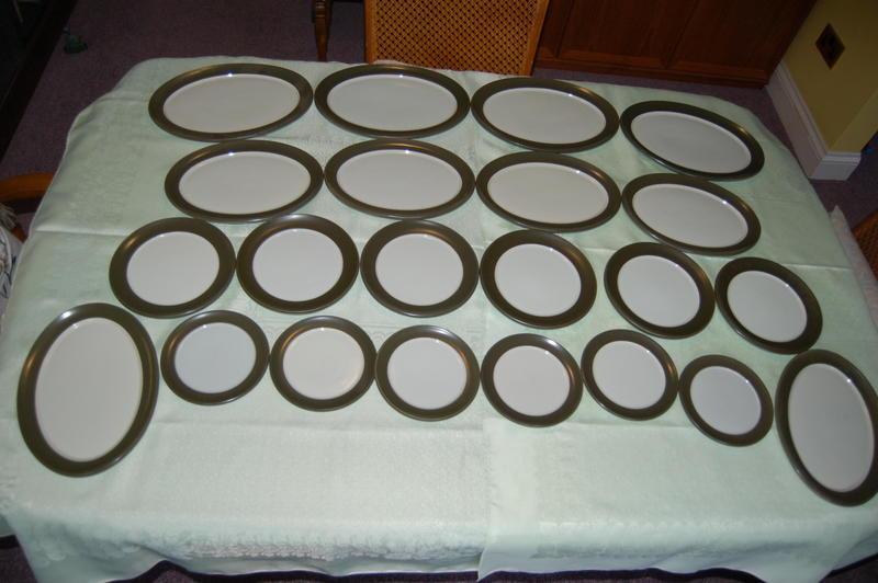 Denby Chevron Plates & Coffee Set inc Coffee Three Pots, &