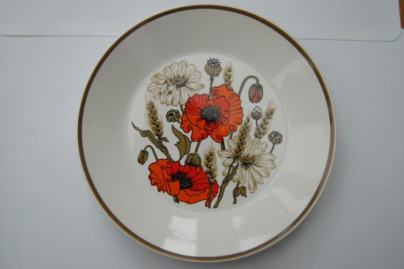 J G Meakin 'Poppy' Design Dinner Plates x 3, Salad Plate x
