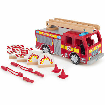 Tidlo Wooden Fire Engine Vehicle Toy Play Set