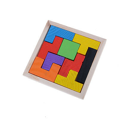 Wooden Tangram Jigsaw Tetris Puzzle Toy For Kids 9Pieces