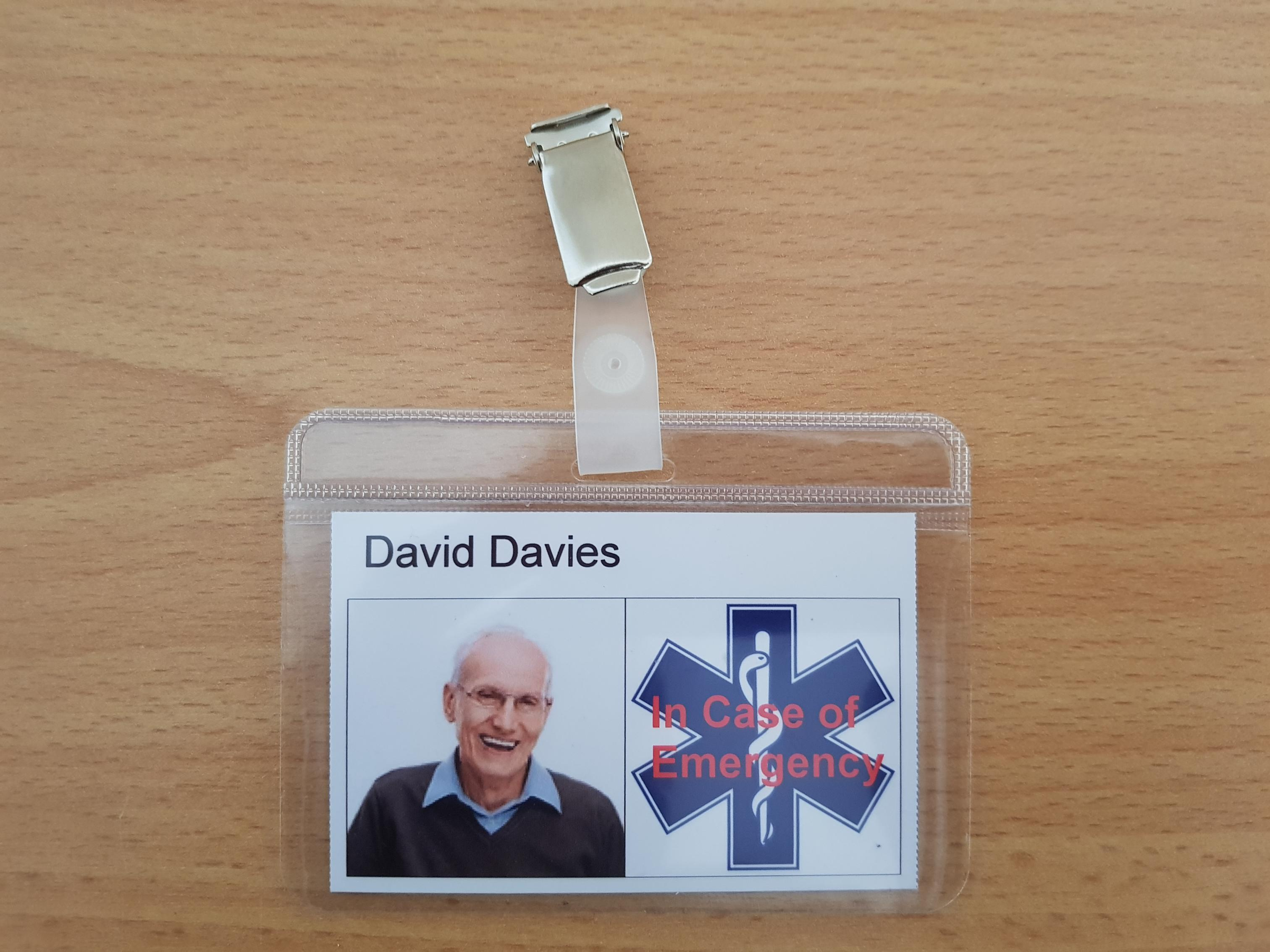 Personalised medical alert ID badge. ICE In Case of