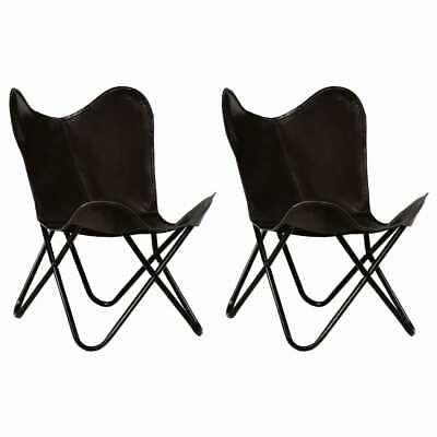vidaXL 2x Butterfly Chairs Black Kids Size Real Leather