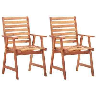 vidaXL 2x Solid Acacia Wood Outdoor Dining Chairs Garden