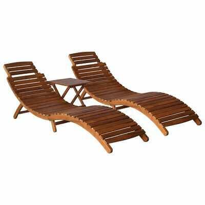 vidaXL 3 Piece Solid Acacia Wood Sunlounger with Tea Table