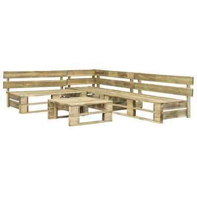 vidaXL 4 Piece Garden Lounge Set Pallets Wood Green Outdoor