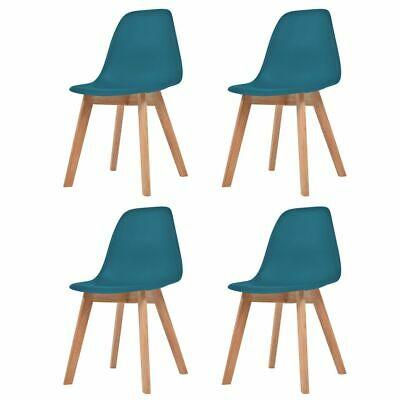 vidaXL 4x Dining Chair Turquoise Solid Wood Leg Plastic Seat