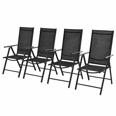 vidaXL 4x Folding Garden Chairs Aluminium Black Outdoor