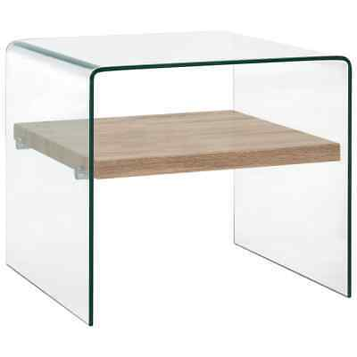 vidaXL Coffee Table with a Shelf Clear 50cm Tempered Glass