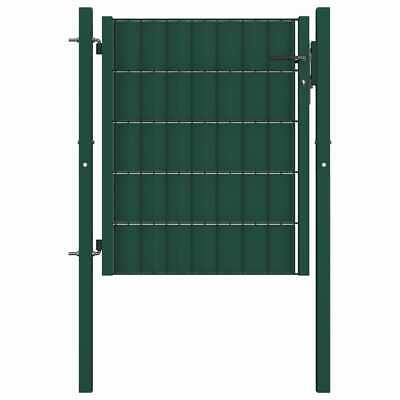 vidaXL Fence Gate Steel 100x81 cm Green Outdoor Garden Patio