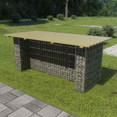 vidaXL Garden Table with Steel Gabion Pinewood 180x90x74cm