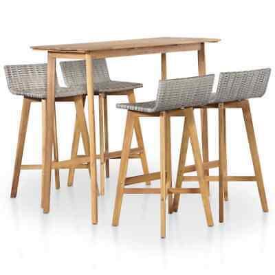 vidaXL Outdoor Bar Set 5 Piece Poly Rattan Solid Acacia Wood