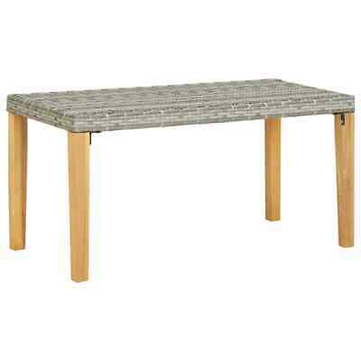 vidaXL Solid Acacia Wood Garden Bench Grey Poly Rattan