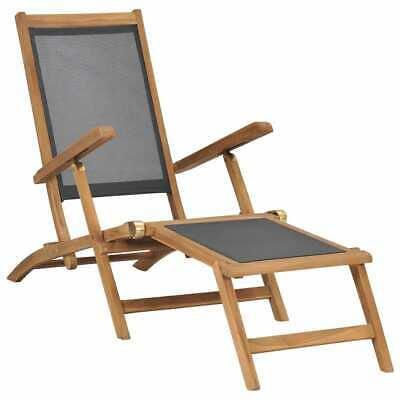 vidaXL Solid Teak Wood Deck Chair with Footrest Black