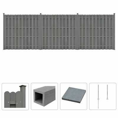 vidaXL WPC Fence Set 3 Square 562x185 cm Grey Outdoor Garden